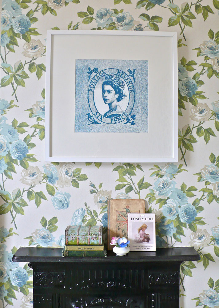 Teal Blue Queen Print framed in a clients beautiful room!